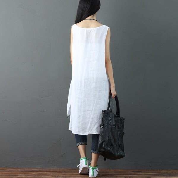 Summer Women Slit Solid Sleeveless White Dress - Buykud