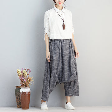 Autumn Loose Cotton Linen Casual Gray Pants For Women - Buykud
