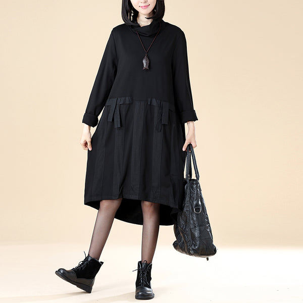 Stylish Autumn Women Turtleneck Long Sleeve Splicing Knee Length Black Irregular Dress - Buykud