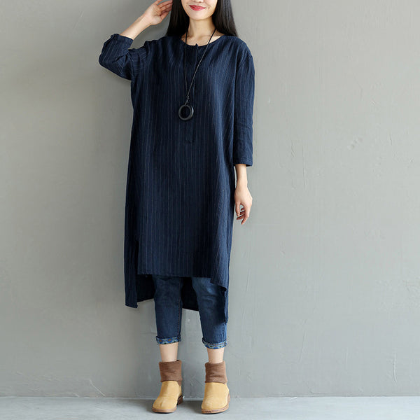 Stripe Loose Irregular Casual Splitting Women Blue Dress