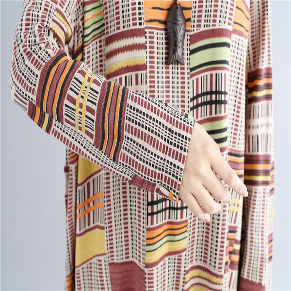 Exotic Women Lattice Loose Printing Long Sleeves Yellow Coffee Dress - Buykud
