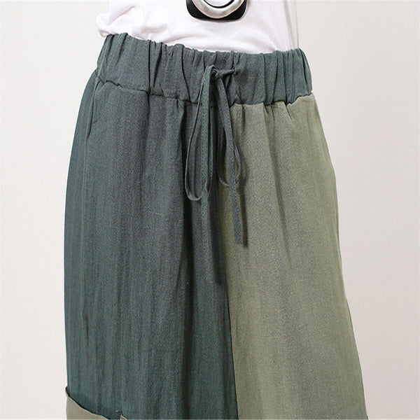 Fashionable Color Matching Women Linen Wide Leg Pants - Buykud