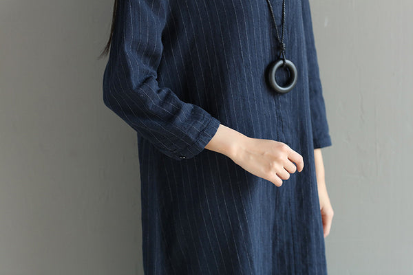 Stripe Loose Irregular Casual Splitting Women Blue Dress - Buykud