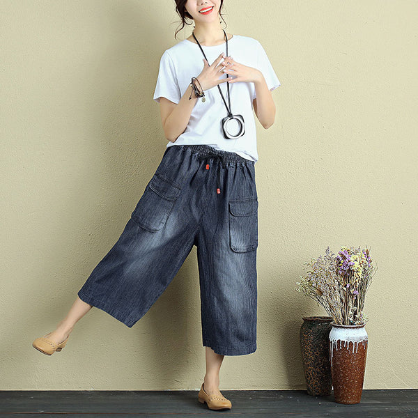 Women Calf-Length Pockets Drawstring Stripe Casual Wide Leg Pants - Buykud