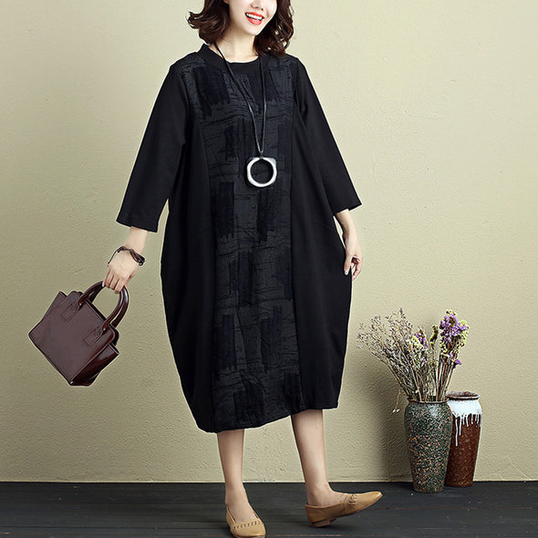 Exquisite Women Embroidery Round Neck Three Quarter Sleeve Splicing Black Dress - Buykud