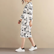 Stylish Exotic Printing Women Cotton Long Sleeves White Dress - Buykud