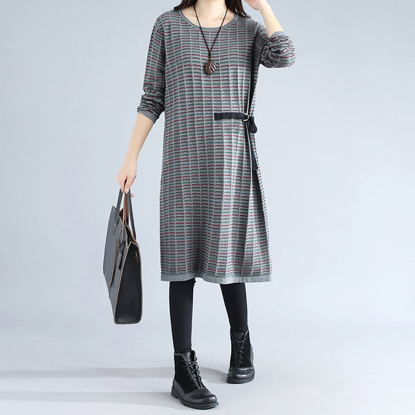Chic Strap Round Neck Round Neck Sleeves Gray Women Sweater Dress - Buykud