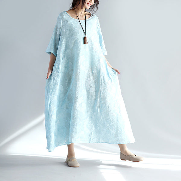 Spring Round Neck Embroidered Loose Dress