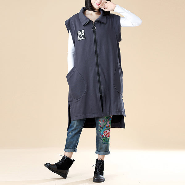 Stylish Women Zipper Splitting Irregular Patchwork Printing Sleeveless Gray Coat - Buykud