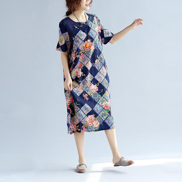 Casual Printed Women Floral Blue Dress - Buykud
