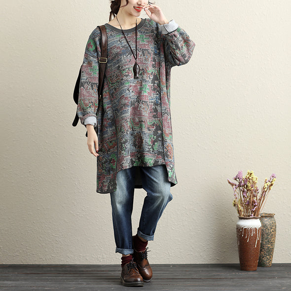 Autumn Women Long Sleeve Irregular Round Neck Printed Shirt - Buykud