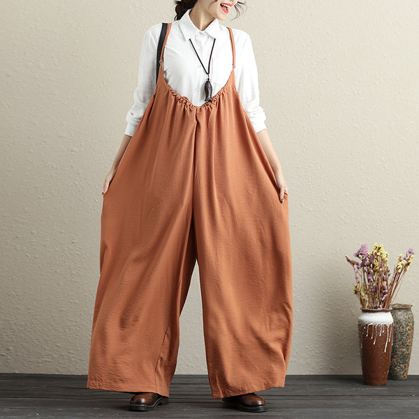 Ankle Length Literature Chic Pleated Versatile Women Jumpsuits - Buykud