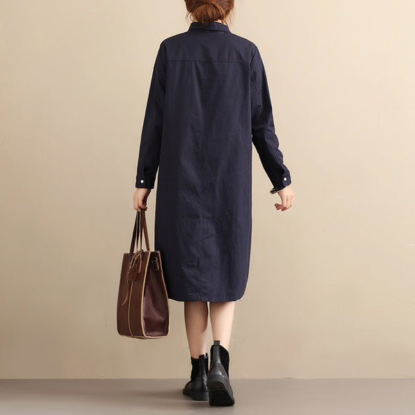 Cotton Casual Loose Long Sleeves Navy Blue Shirts - Buykud