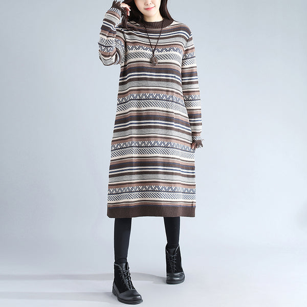 Autumn Casual Loose Long Sleeve Stripe Women Knitted Beige Sweater - Buykud