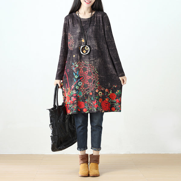 Women Printing Long Sleeve Retro Pockets Black Dress - Buykud
