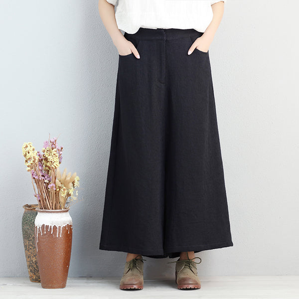 Women Cotton Pockets Elastic Waist Solid Black Pants - Buykud