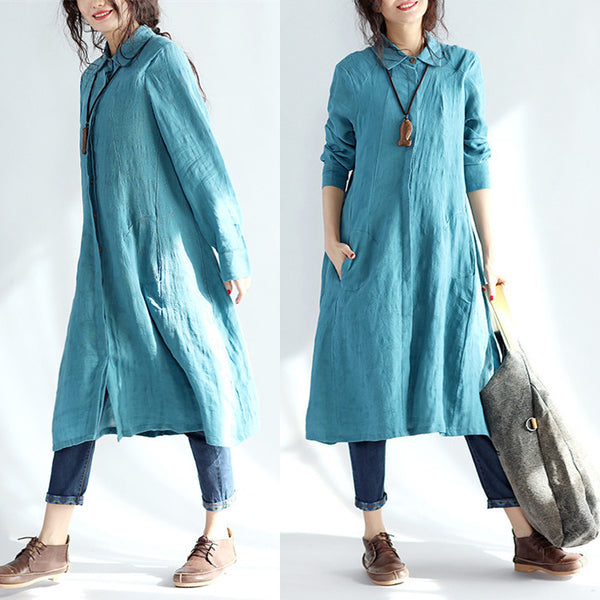 Casual Linen Women Spring Blue Long Shirt