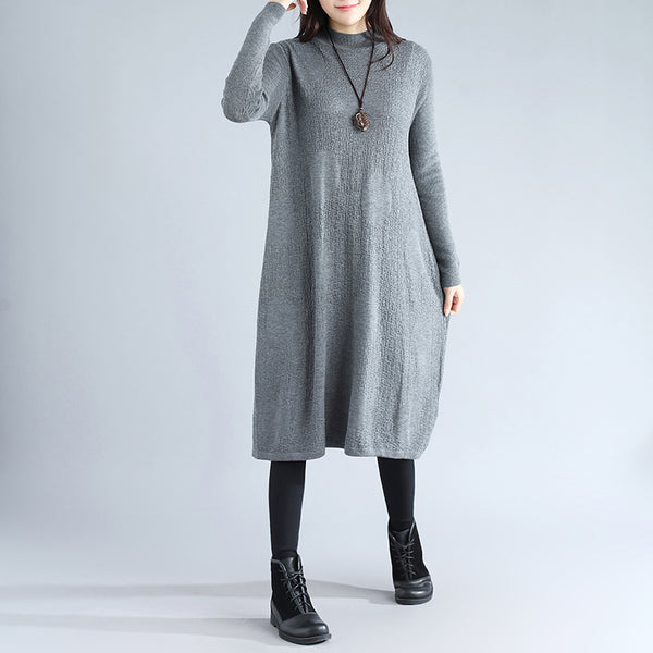 Women Literature Jacquard Long Sleeves Loose Gray Sweater Dress - Buykud