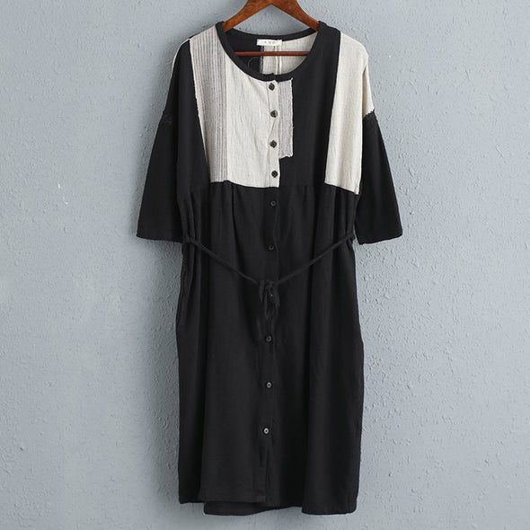 Casual Women Black Short Sleeves Dress with Waistband