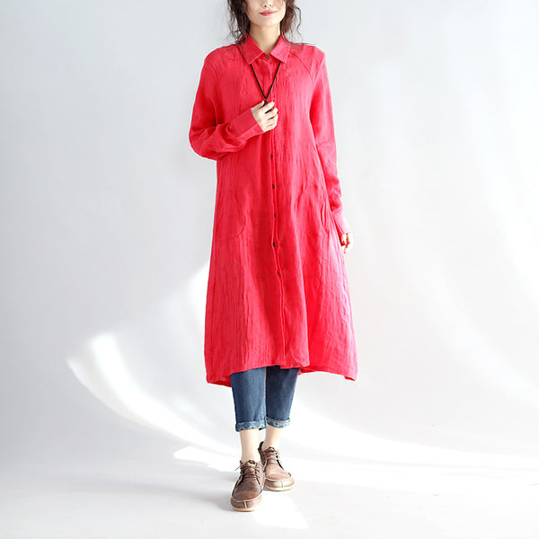 Casual Linen Women Spring Red Long Shirt