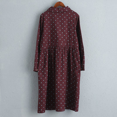 Women Red Cotton Long Sleeves Dot Dress with Drawstring