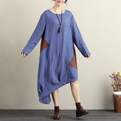 Women Fashionable Color Matching Round Neck Long Sleeves Blue Dress - Buykud