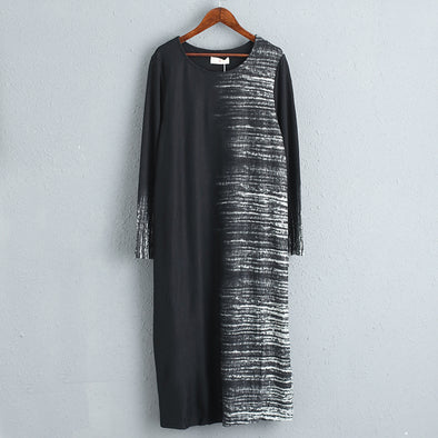 Women Casual Long Sleeves Stripe Dress with Pocket