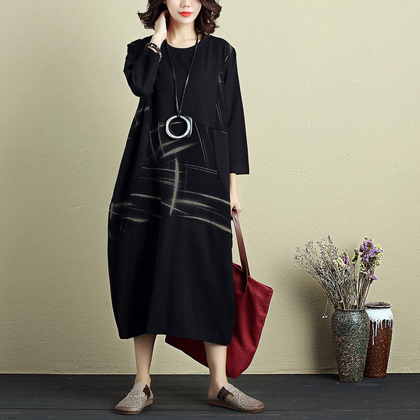 Casual Women Round Neck Three Quarter Sleeve Printing Dress - Buykud