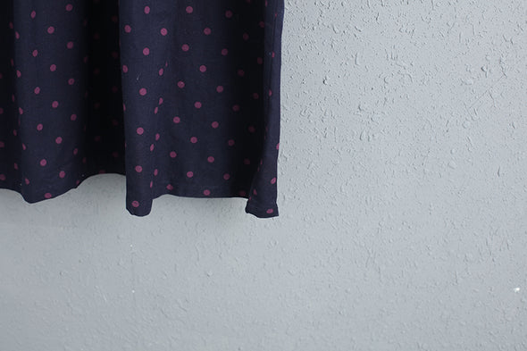 Polo Collar Long Sleeve Cotton Linen Dots Dress