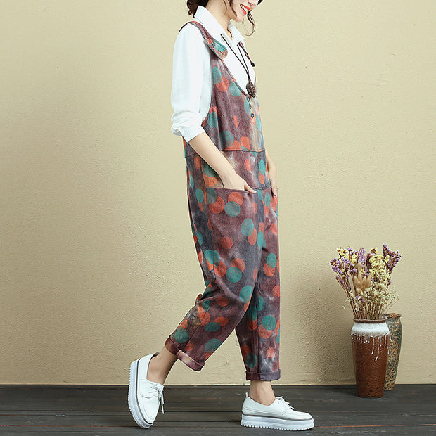 Retro Printing Loose Casual Cotton Overalls For Women - Buykud