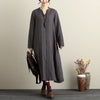 Autumn Winter V Neck Casual Gray Stripe Dress For Women - Buykud