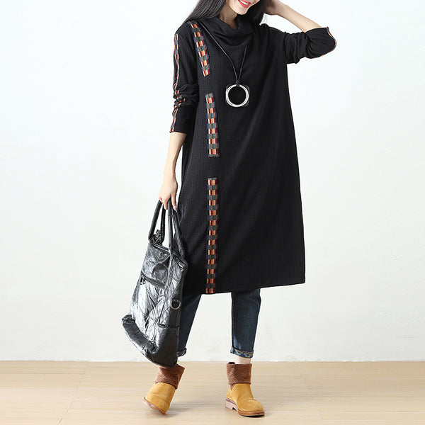 Women Semi-High Collar Casual Loose Splicing Black Dress - Buykud
