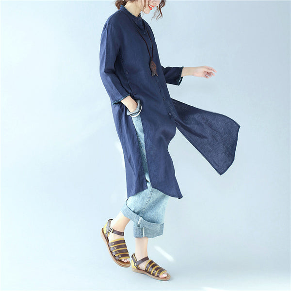 Casual Simple 1/2 Sleeves Women Dark Blue Long Shirt - Buykud
