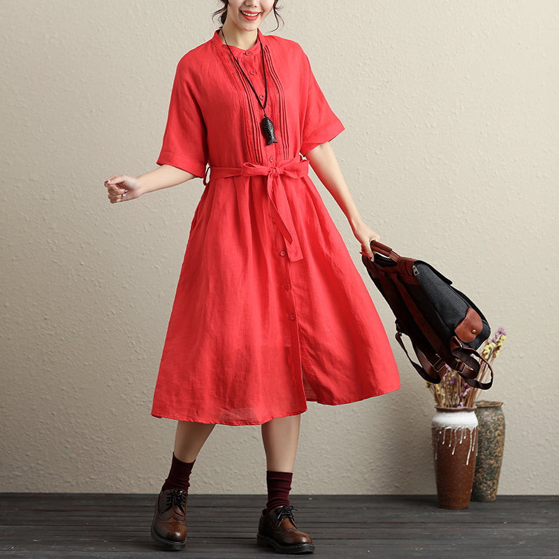 Stylish Hollowed Single Breasted Short Sleeves Ramie Pure Red Women Dress - Buykud