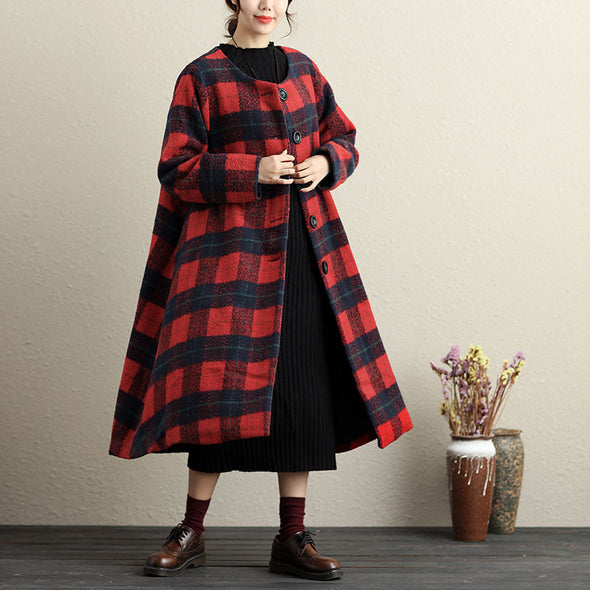 Long Sleeve Lattice Pockets Button-Front Coat - Buykud