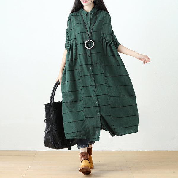 Polo Collar Single Breasted Stripe Long Sleeve Green Dress - Buykud