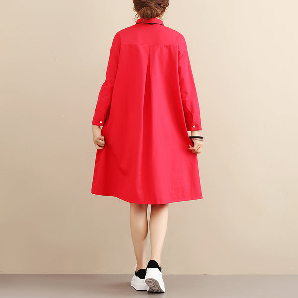 Spring Autumn Women Cotton Long Sleeves Red Shirts - Buykud