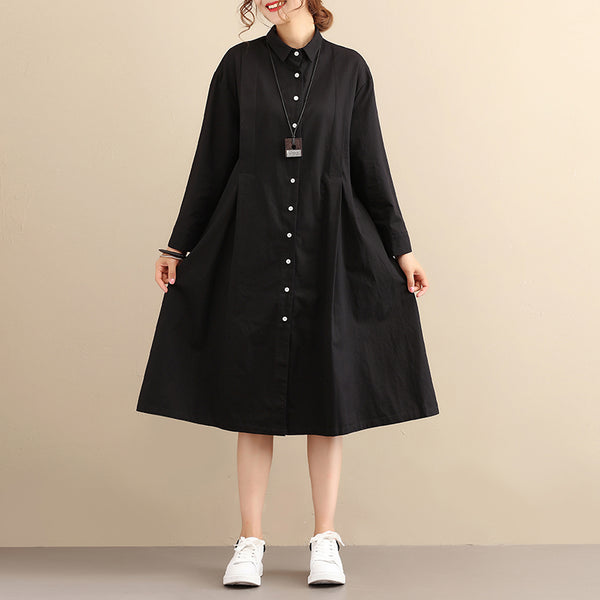 Polo Collar Long Sleeves Back Printing Chic Design Black Women Dress - Buykud
