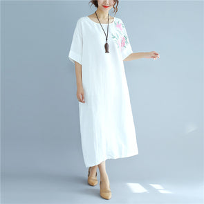 Embroidered Linen Casual Women White Dress - Buykud