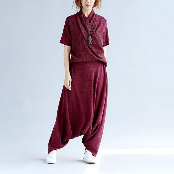 Folded Women Splicing Cotton Loose Linen Red Suits(Shirt+Pants)