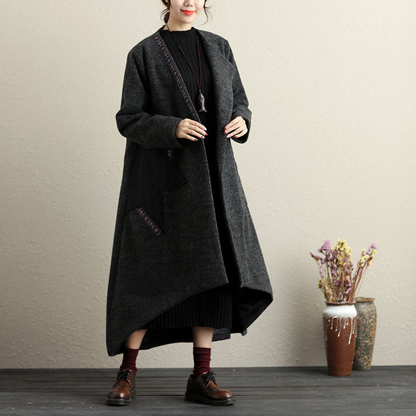 Women Autumn Winter Button-Front Applique Irregular Long Sleeve Coat - Buykud