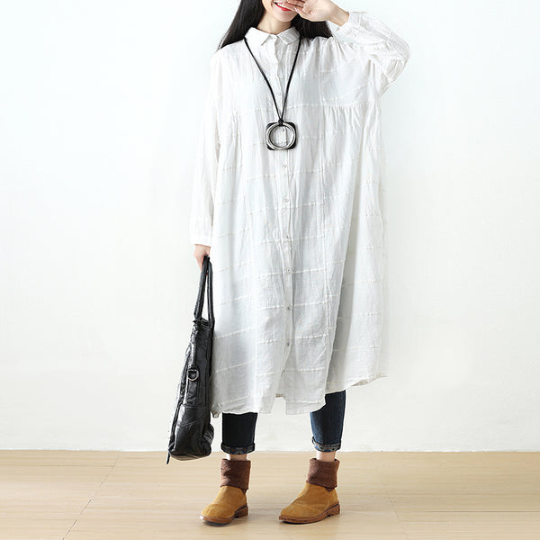 Polo Collar Single Breasted Stripe Long Sleeve White Dress - Buykud