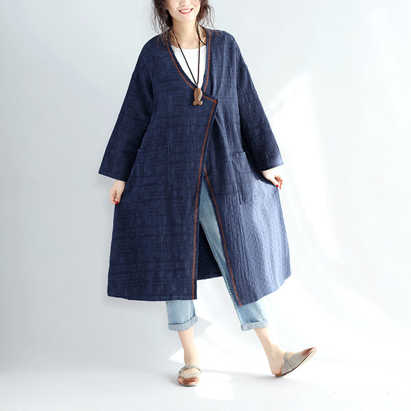 Women V Neck Pocket Spring Coat