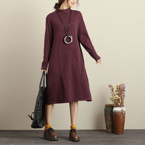 Autumn Casual Simple Knitted Wine Red Sweater Dress For Women - Buykud