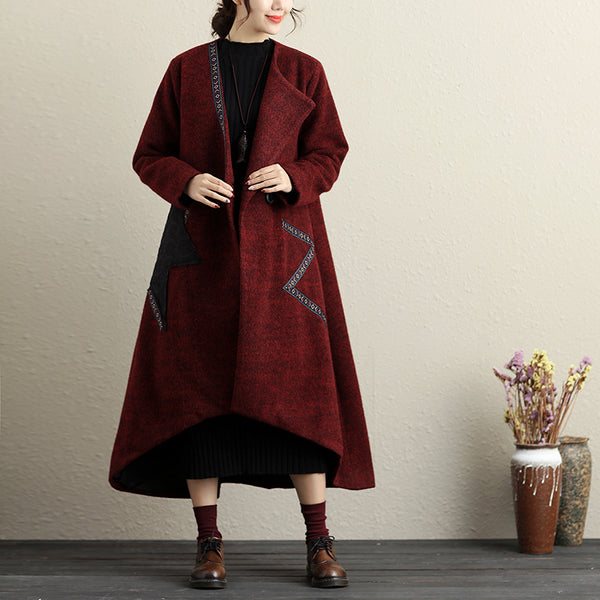 Pockets Button-Front Applique Irregular Long Sleeve Coat - Buykud