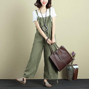Casual Women Fashion Cotton Linen Gray Jumpsuit