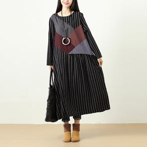 Women Long Sleeve Pockets Splicing Stripe Casual Dress - Buykud