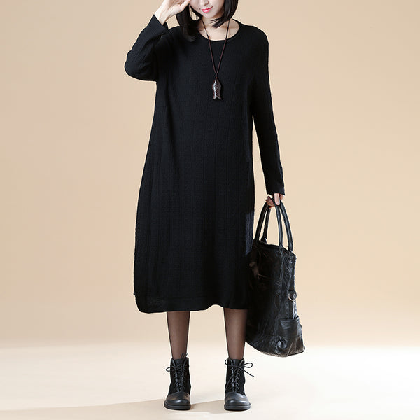 Solid Black Long Sleeve Round Neck Casual Dress