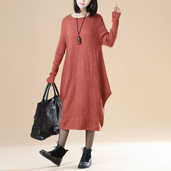 Long Sleeve Knitted Striped Round Neck Knitted Dress