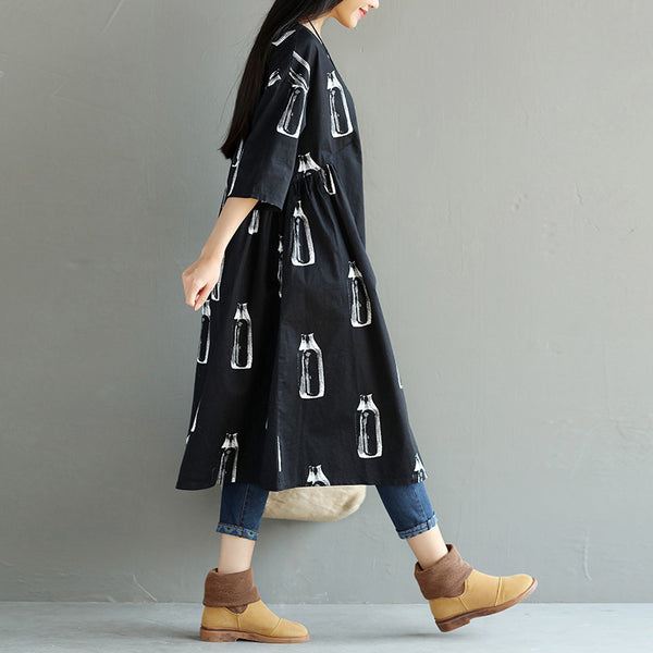 Summer Round Neck Printing Women Dress
